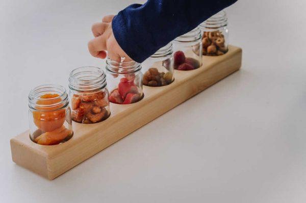 6 Glass Jar Wooden Paint Holder / Paint Jars / Eco-Friendly Paint / Holistic Learning / Sensory Jar
