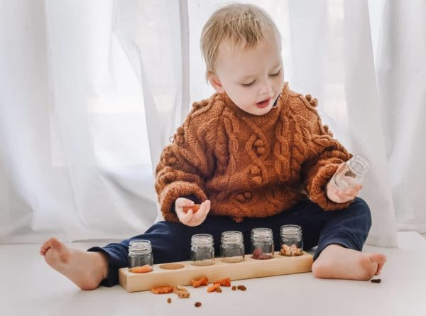 6 Glass Jar Wooden Paint Holder / Paint Jars / Eco-Friendly Paint / Holistic Learning
