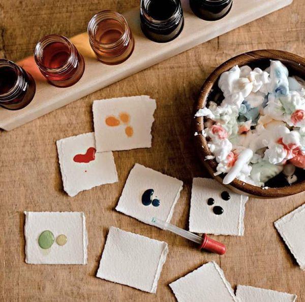 6 Glass Jar Wooden Paint Holder / Paint Jars / Eco-Friendly Paint / Holistic Learning / Water Paints / Waldorf Painting / Paint Dropper