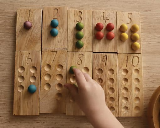 tactile number wooden set with wooden marbles