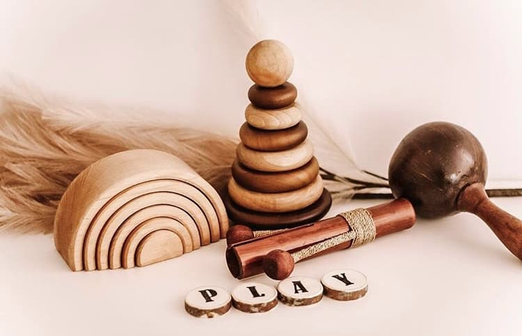Natural Wooden Stacking Rings / Stacking and Sorting