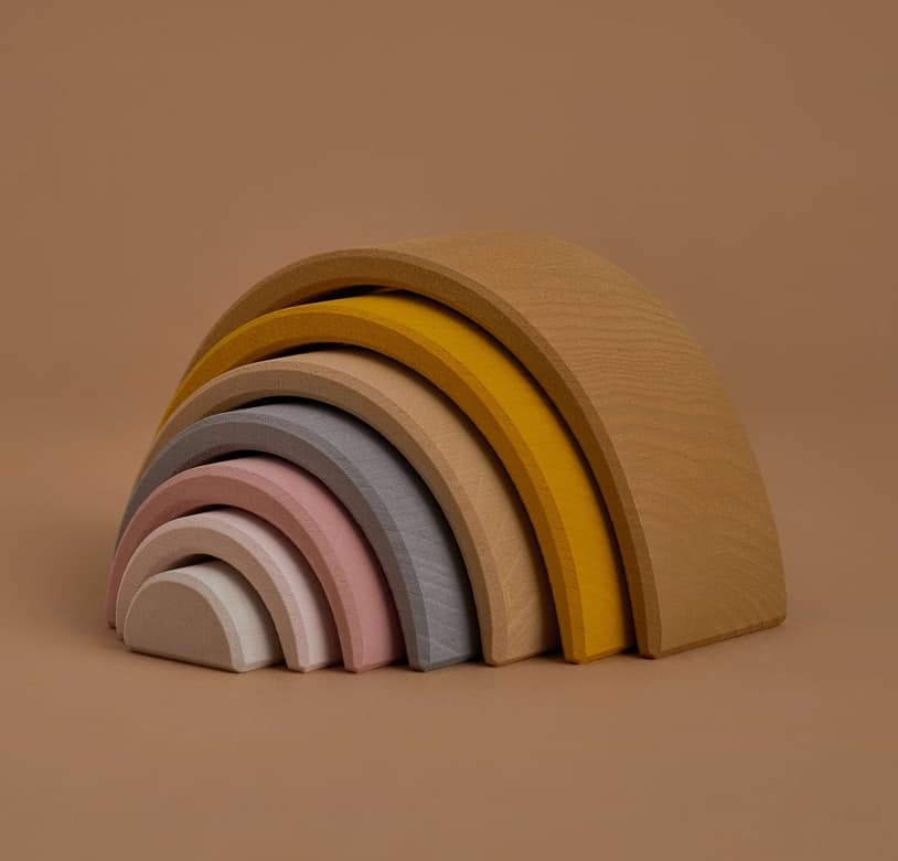 Wooden pastel arch rainbow stacker - sand colours