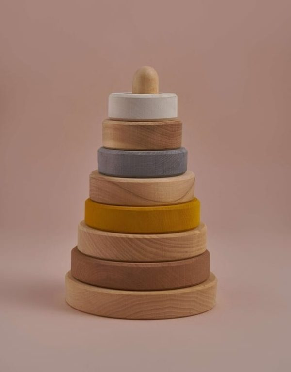 wooden baby ring stacker in sand colours