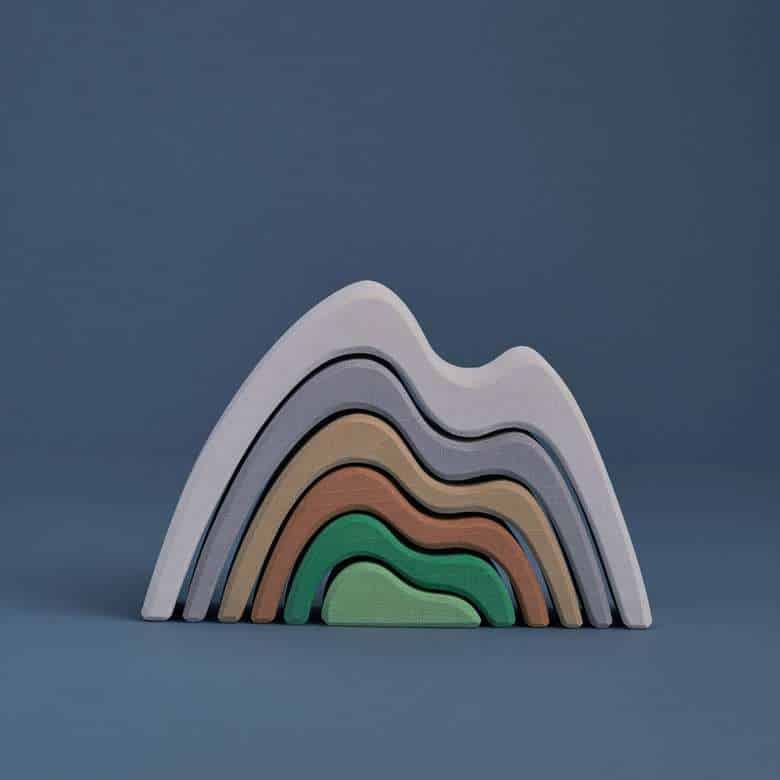 wooden stacker toy mountains