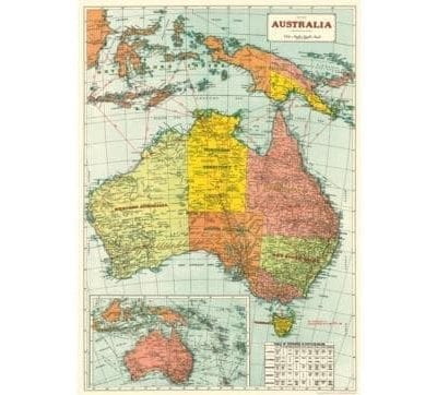 Australian Map Vintage Poster / Cavallini Poster / Room Decor / Geography Poster / Waldorf Learning / Holistic