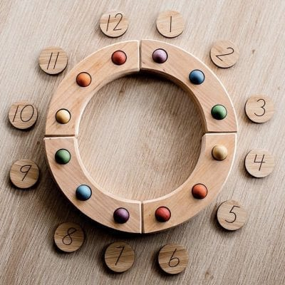 Bamboo Counting Discs / Number Discs / Wooden Marbles / Grimm's Celebration Ring / Birthday Ring / Holistic Education / Numeracy / Homeschool