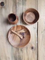 Acacia Wood Dinner Set / Role Play / Waldorf / Steiner / Mindful Play / Wooden plates / Children's Dinner Set