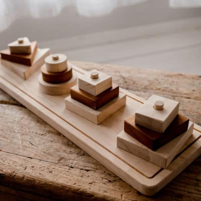 Wooden Shape Stacker For learning