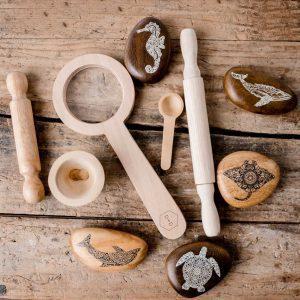 Animal Wooden Pebble Set