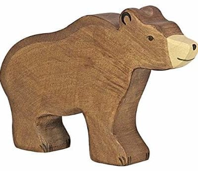 wooden animal brown bear