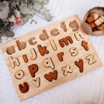 wooden sorting alphabetical board