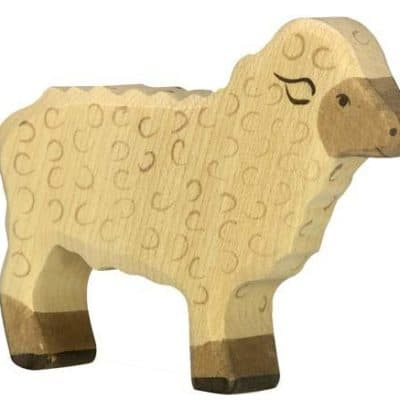 wooden playing toy sheep