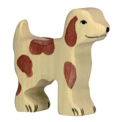 wooden playing toy dog