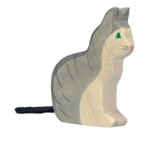 wooden playing toy cat