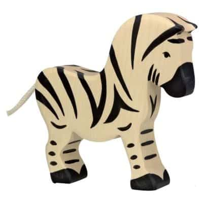 wooden playing toy zebra