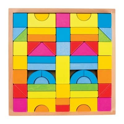Rainbow Building Blocks in Wooden Tray