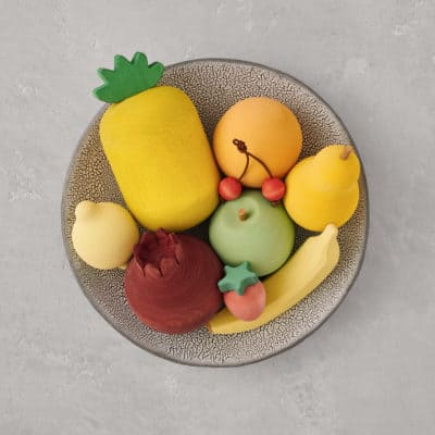 toy fruits in basket