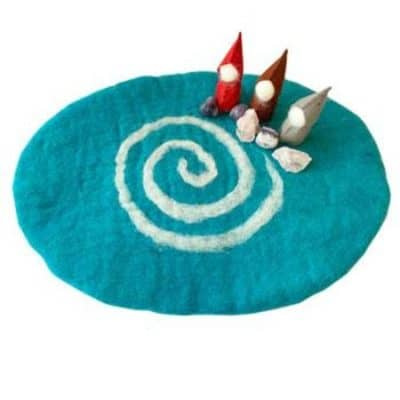 blue wool playing mat