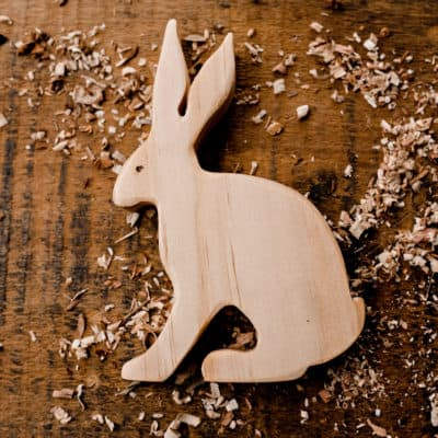 wooden rabbit