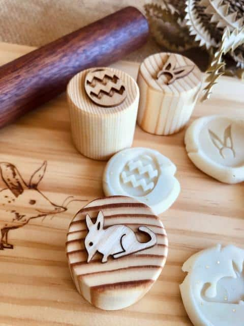 Wooden Easter Dough Stampers