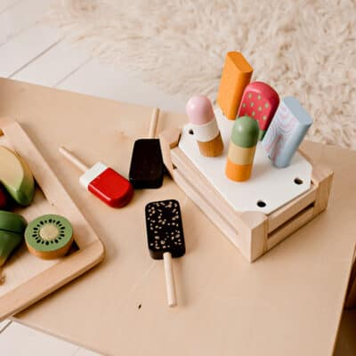 Wooden-Ice-Cream-Set with wooden fruit in kitchen