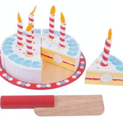 Wooden Birthday Cake with knife