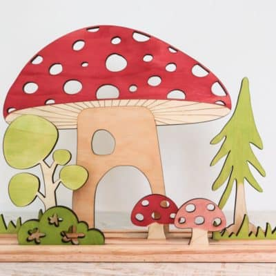 wooden Mushroom and trees