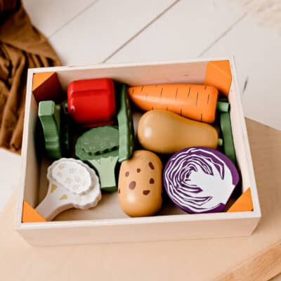 Wooden Vegetable Crate / Vegan / Home Corner / Play food