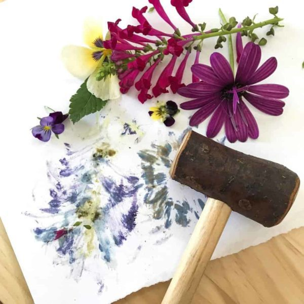 wooden Hammer and flowers
