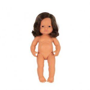 Miniland Doll - Anatomically Correct Baby, Caucasian Girl, Brunette, 38 cm (UNDRESSED)