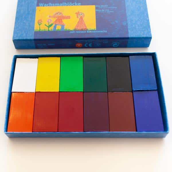 Stockmar Wax Crayons 12 Blocks in Cardboard Gift Box