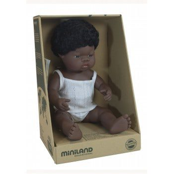 Miniland Doll Boxed Dressed - African Boy 38cm