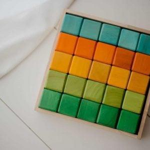 coloured wooden block set