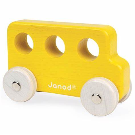 janod wooden yellow bus
