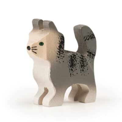 wooden Trauffer grey cat