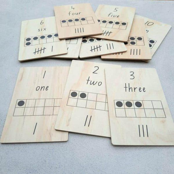 Wooden Tens Frame Cards for kids