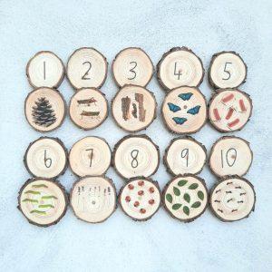 wooden Number Memory Tree Slice Game