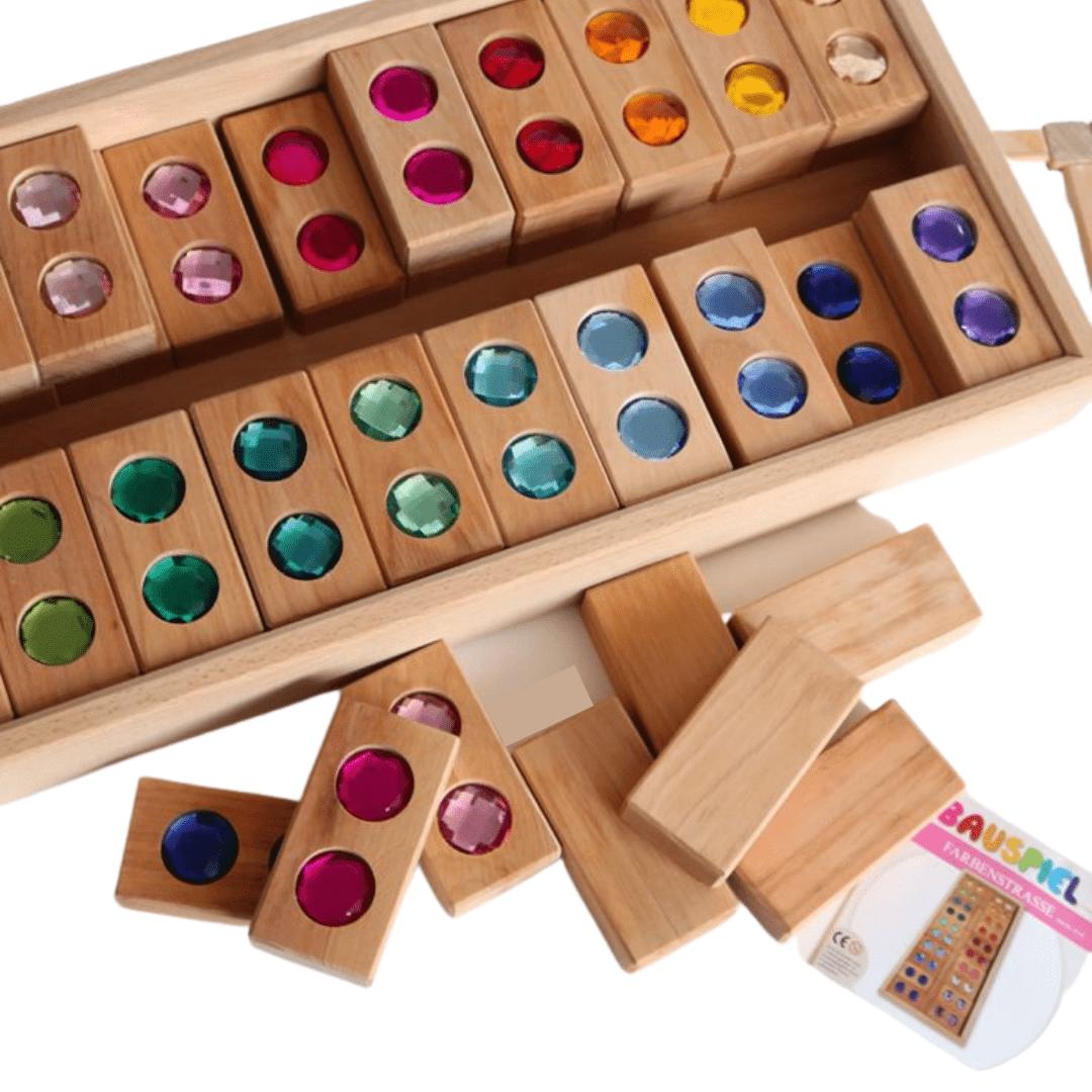 Bauspiel Colour Street- 45pc wood blocks