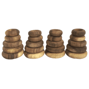 Papoose Wood Stacking Rings - loose parts