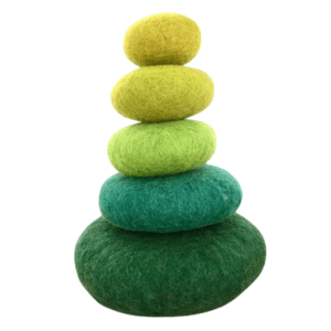 Papoose green felt pebbles stacking