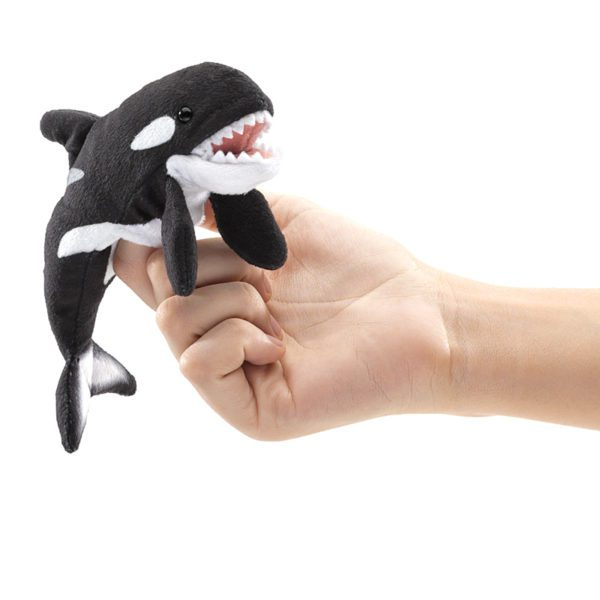Orca Finger Puppet on hand