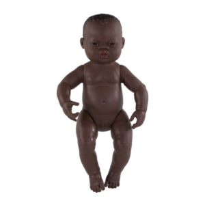Miniland Doll - Anatomically Correct Baby, African Girl, 40 cm (UNDRESSED)