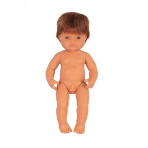 Miniland Doll - Anatomically Correct Baby, Caucasian Boy, Red Head, 38 cm (UNDRESSED) standing