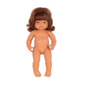Miniland Doll - Anatomically Correct Baby, Caucasian Girl, Red Head 38 cm (UNDRESSED) standing